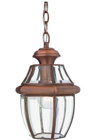 Quoizel Newbury 1 Light Medium Hanging Porch Lantern Aged Copper