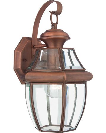 Quoizel Newbury 1 Light Medium Outdoor Wall Lantern Aged Copper