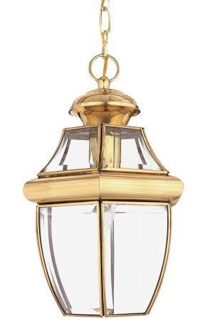 Quoizel Newbury 1 Light Medium Hanging Porch Lantern Solid Brass