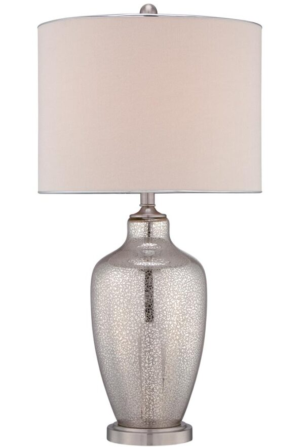 Quoizel Nicolls 1 Light Mercury Glass Table Lamp Beige Shade
