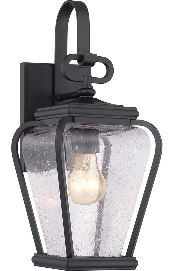 Quoizel Province 1 Light Outdoor Wall Lantern Mystic Black Seeded Glass