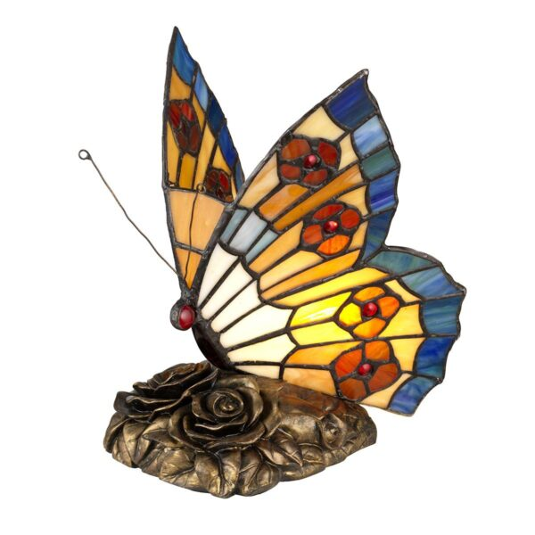 Quoizel Tiffany Art Glass Handmade Multi Coloured Butterfly Table Lamp