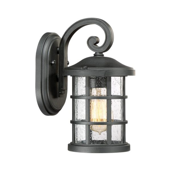 Quoizel Crusade Black 1 Light Small Outdoor Wall Lantern Seeded Glass