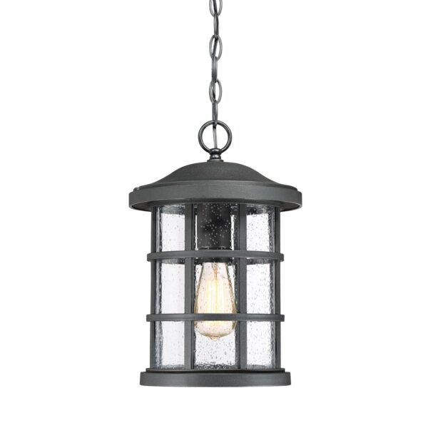 Quoizel Crusade Black 1 Light Outdoor Porch Chain Lantern Seeded Glass