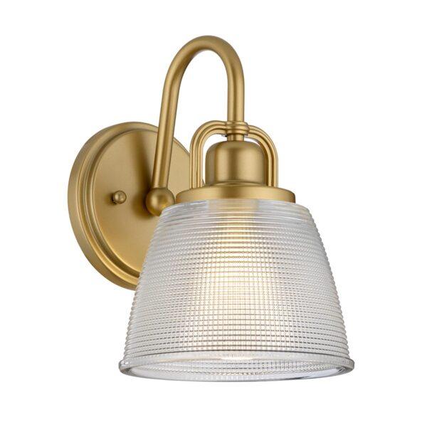 Quoizel Dublin 1 Lamp Painted Brass Bathroom Wall Light Textured Glass