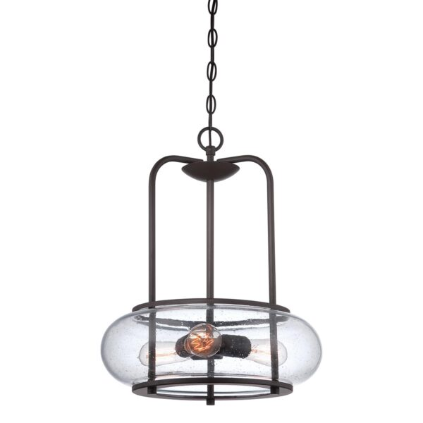 Quoizel Trilogy 3 Light Ceiling Pendant Old Bronze Seeded Glass Shade