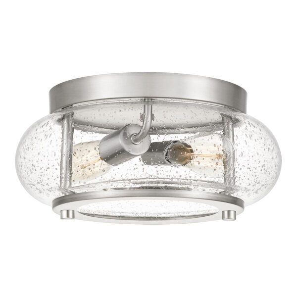 Quoizel Trilogy 2 Light Small Flush Low Ceiling Light Brushed Nickel