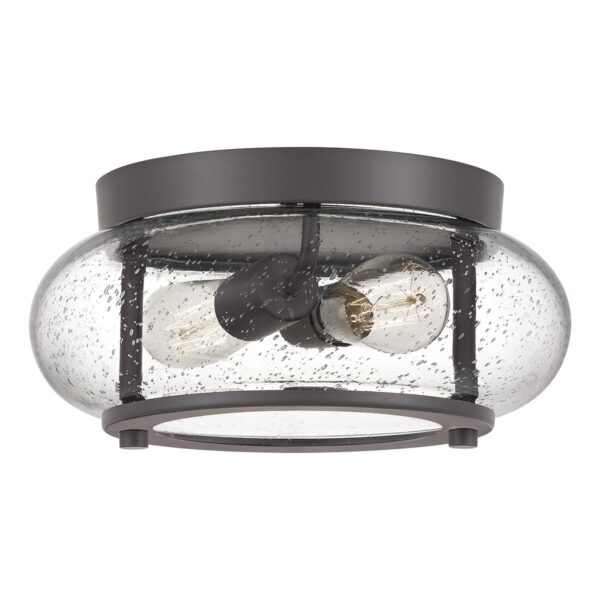 Quoizel Trilogy 2 Light Small Flush Low Ceiling Light Old Bronze Seeded Glass