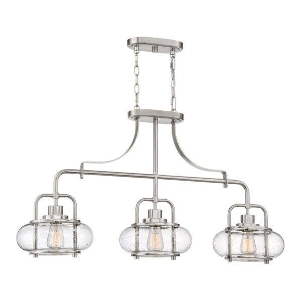 Quoizel Trilogy 3 Light Island Pendant Brushed Nickel Clear Seeded Glass