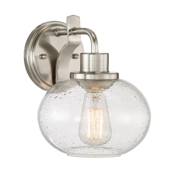 Quoizel Trilogy 1 Lamp Single Wall Light Brushed Nickel Seeded Glass Shade