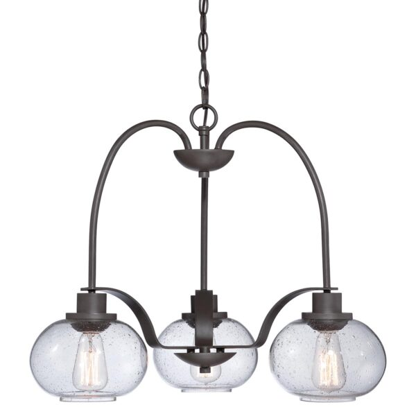 Quoizel Trilogy 3 Light Chandelier Old Bronze Clear Seeded Glass Shades