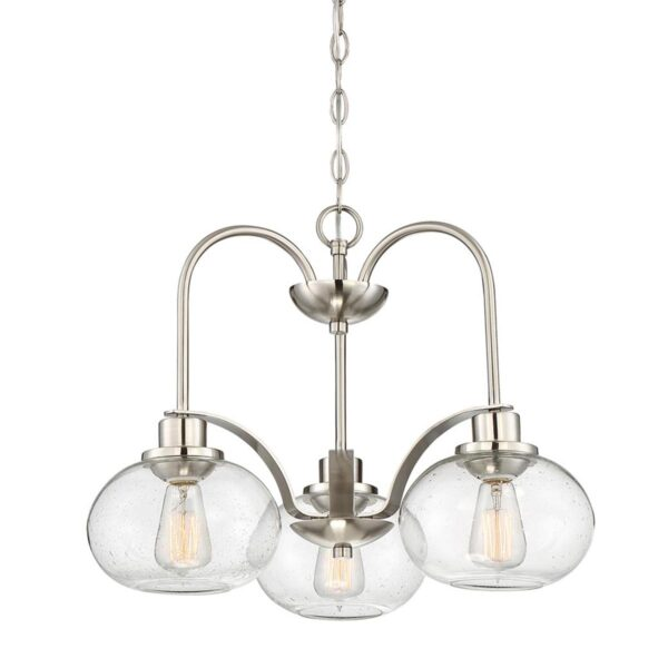 Quoizel Trilogy 3 Light Chandelier Brushed Nickel Clear Seeded Glass