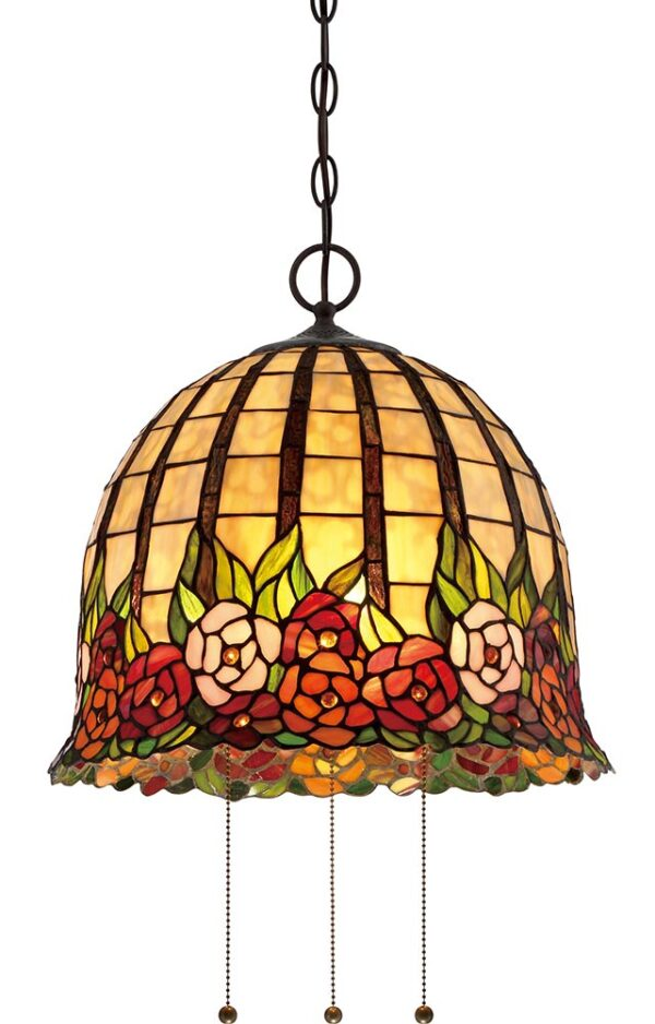 Quoizel Rosecliffe 3 Light Tiffany Pendant Ceiling Light Imperial Bronze