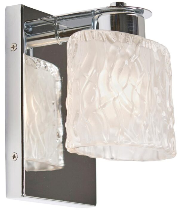 Quoizel Seaview Chrome 1 Light Bathroom Wall Light Frosted Glass