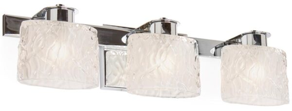 Quoizel Seaview Chrome 3 Light Bathroom Over Mirror Light Frosted Glass