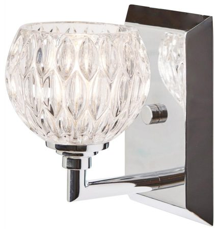 Quoizel Serena Chrome 1 Light Bathroom Wall Light Cut Glass Shade