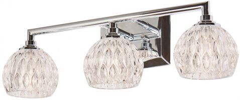 Quoizel Serena Chrome 3 Light Bathroom Over Mirror Light Cut Glass Shades