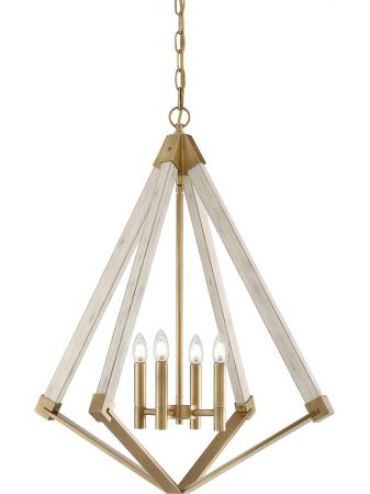 Quoizel View Point 4 Light Pendant Chandelier Weathered Brass