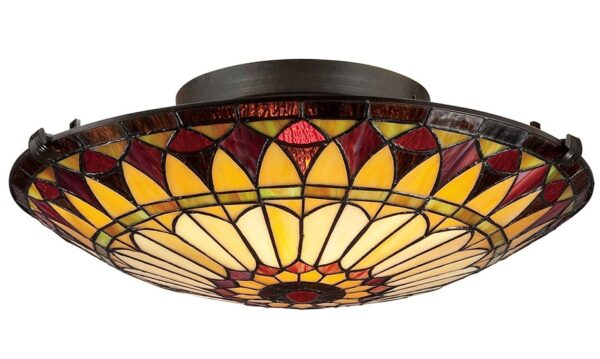 Quoizel West End 2 Light Flush Mount Tiffany Ceiling Light Art Deco Style