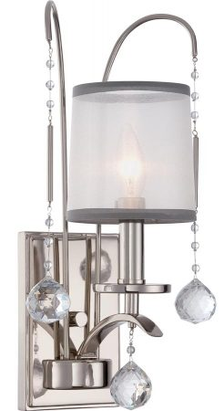 Quoizel Whitney Single Wall Light Imperial Silver White Organza Shade