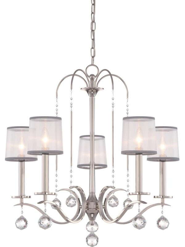 Quoizel Whitney 5 Light Chandelier Imperial Silver White Organza Shades