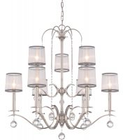 Quoizel Whitney 9 Light Chandelier Imperial Silver White Organza Shades