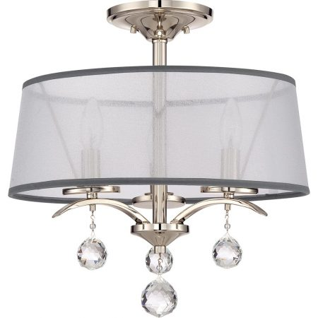 Quoizel Whitney 3 Light Duo Mount Imperial Silver White Organza Shade