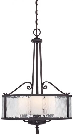 Adonis Wrought Iron 3 Light Drum Pendant Cherry Bronze