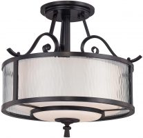 Adonis Wrought Iron 3 Light Semi Flush Drum Cherry Bronze