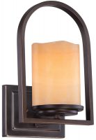 Quoizel Aldora Bronze 1 Lamp Wall Light With Yellow Onyx Shade
