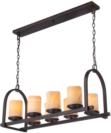Quoizel Aldora Bronze 8 Light Island Pendant With Onyx Shades