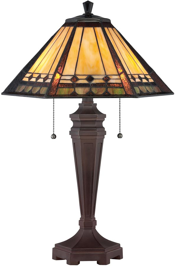Arden Arts And Crafts Style 2 Light Tiffany Table Lamp