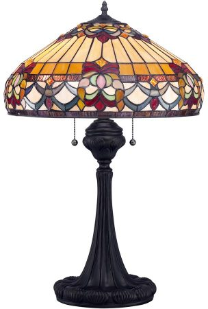Quoizel Belle Fleur Traditional Floral 2 Light Tiffany Table Lamp