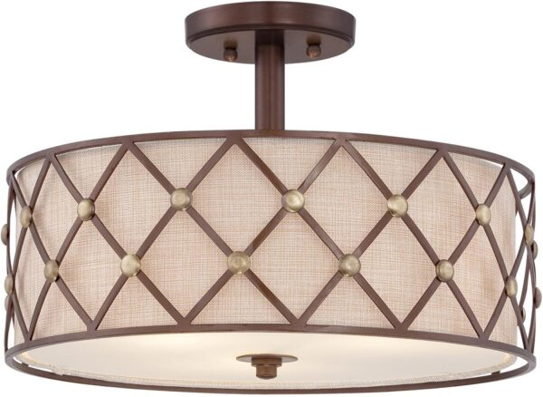 Quoizel Brown Lattice 3 Lamp Semi Flush Light Copper Canyon Finish
