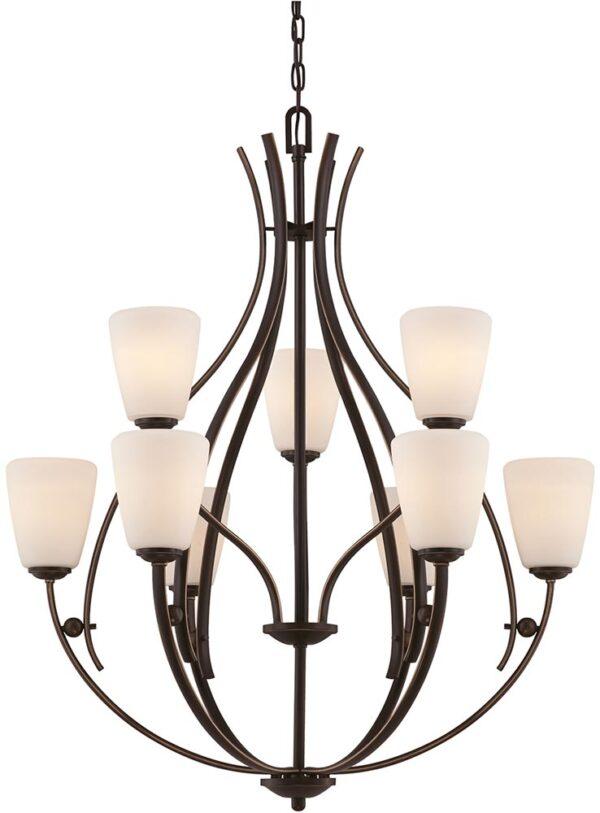 Quoizel Chantilly Birdcage 9 Light 2 Tier Chandelier Palladian Bronze