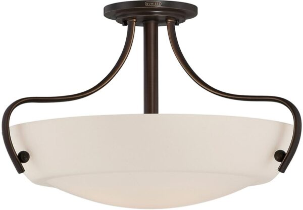 Quoizel Chantilly Semi Flush Mount 3 Lamp Ceiling Light Palladian Bronze