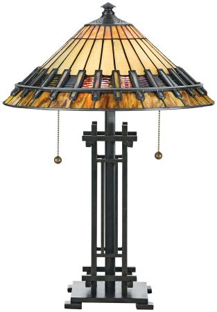Quoizel Chastain Arts And Crafts Style 2 Light Tiffany Table Lamp