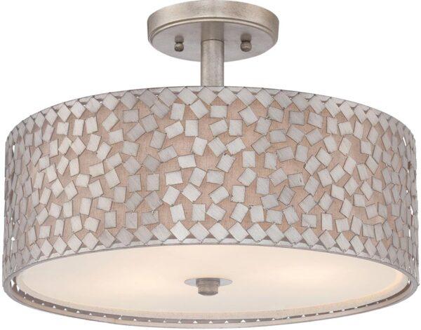 Quoizel Confetti 3 Light Flush Designer Ceiling Light Old Silver Finish