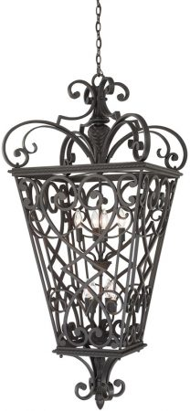 Quoizel Fort Quinn Very Large 8 Light Hanging Lantern In Black