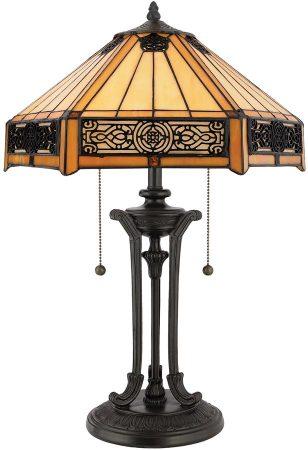 Quoizel Indus Filigree Metalwork 2 Light Tiffany Table Lamp