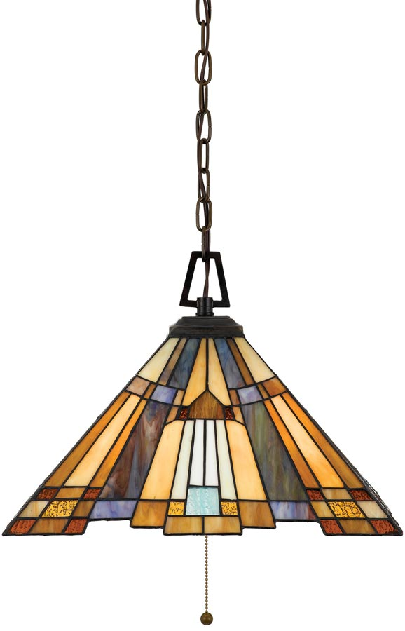 Inglenook Art Deco Style 3 Lamp Tiffany Pendant Light