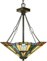 Inglenook Art Deco Style 3 Lamp Tiffany Pendant Uplighter