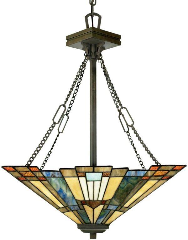 Inglenook Art Deco Style 3 Lamp Tiffany Pendant Uplighter