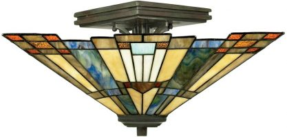 Inglenook Art Deco Style 2 Light Semi Flush Tiffany Lamp