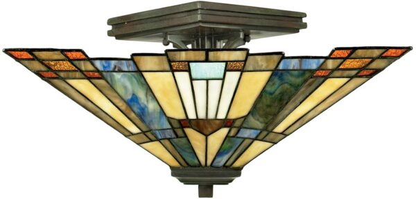 Inglenook Art Deco Style 2 Light Semi Flush Tiffany Lamp