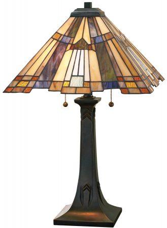 Inglenook Art Deco Style 2 Light Pyramid Tiffany Table Lamp