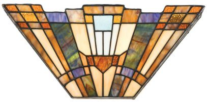 Inglenook Art Deco Style 2 Light Tiffany Wall Lamp
