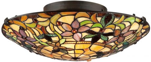 Quoizel Kami Traditional 2 Light Flush Tiffany Ceiling Lamp