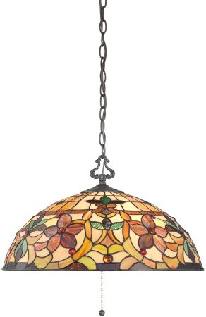 Quoizel Kami Traditional Floral 3 Light Tiffany Ceiling Pendant