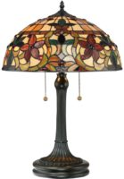 Quoizel Kami Traditional Floral 2 Light Tiffany Table Lamp